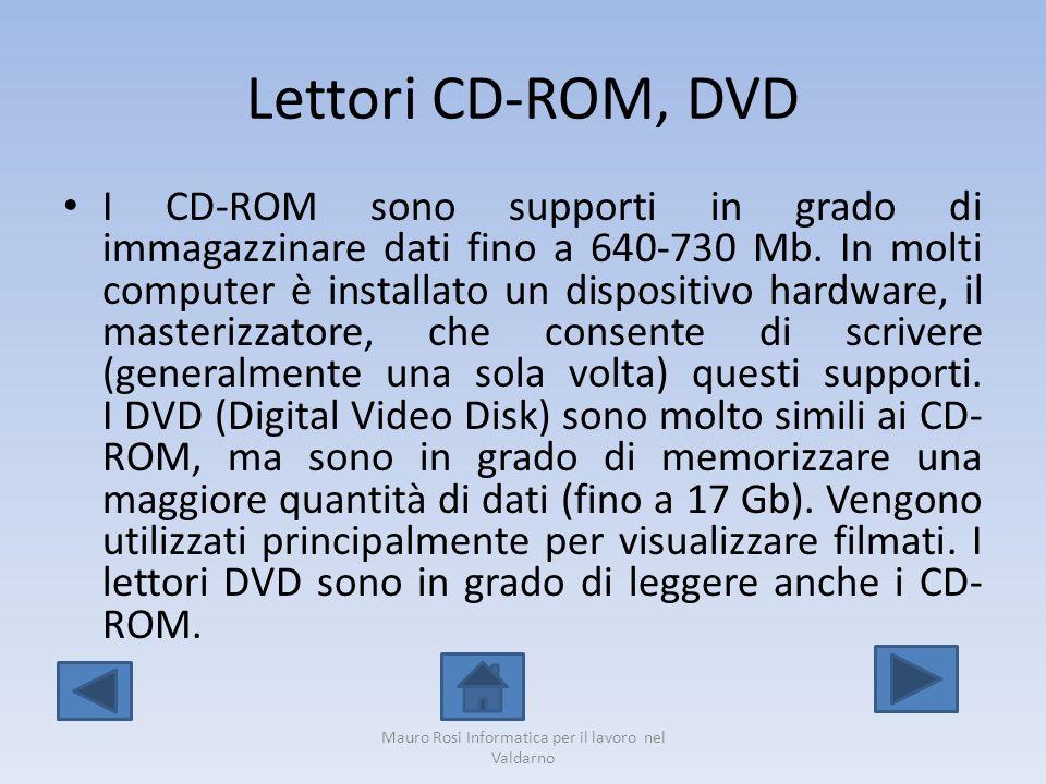 Lettori CD-ROM, DVD I CD-ROM sono supporti in grado di immagazzinare dati fino a 640-730 Mb. In molti computer è installato un dispositivo hardware, i