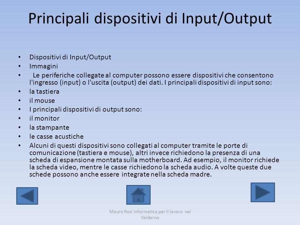 Principali dispositivi di Input/Output Dispositivi di Input/Output Immagini Le periferiche collegate al computer possono essere dispositivi che consen