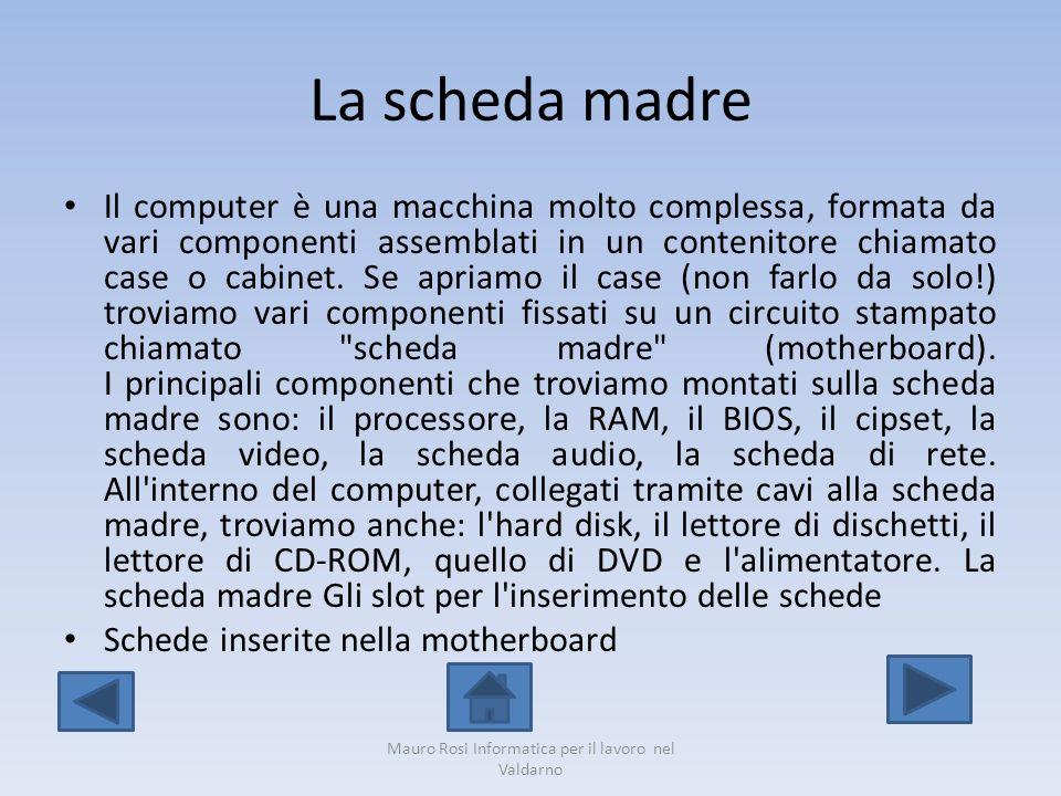 La scheda madre Il computer è una macchina molto complessa, formata da vari componenti assemblati in un contenitore chiamato case o cabinet. Se apriam