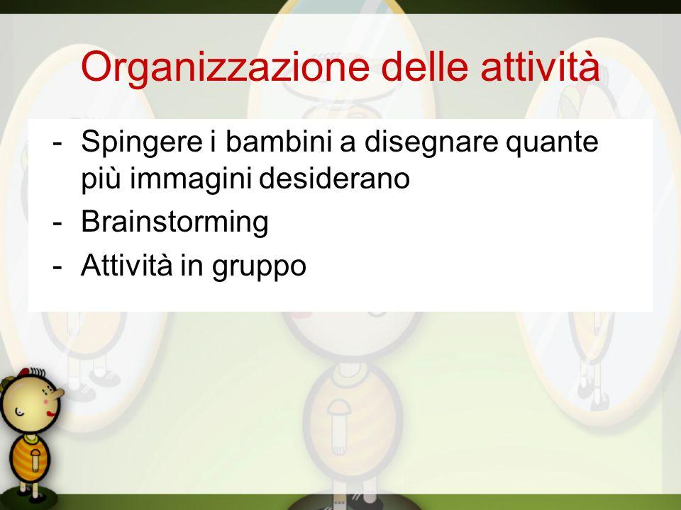 Organizzazione delle attività -Spingere i bambini a disegnare quante più immagini desiderano -Brainstorming -Attività in gruppo