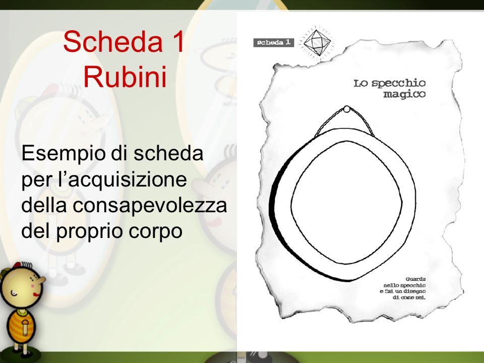 Scheda 1 Rubini Esempio di scheda per lacquisizione della consapevolezza del proprio corpo