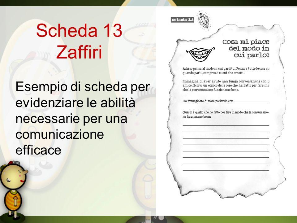 Scheda 13 Zaffiri Esempio di scheda per evidenziare le abilità necessarie per una comunicazione efficace
