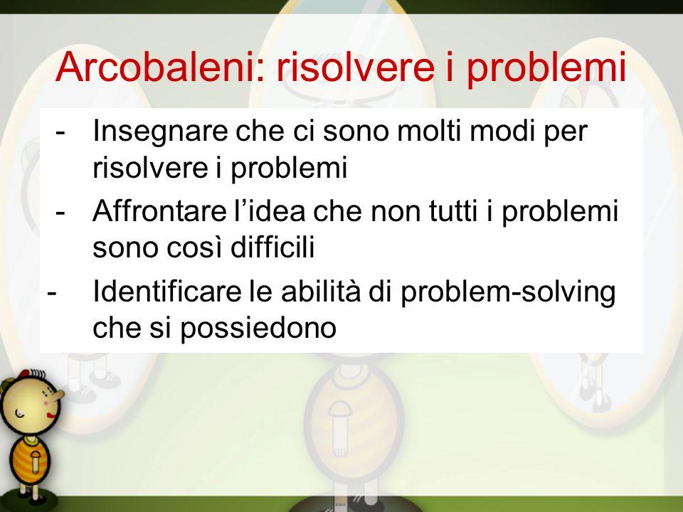 Arcobaleni: risolvere i problemi -Insegnare che ci sono molti modi per risolvere i problemi -Affrontare lidea che non tutti i problemi sono così diffi
