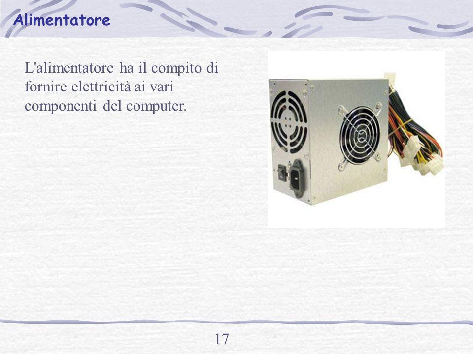 16 La scheda video (o scheda grafica) riceve le immagini dal microprocessore in forma digitale è le codifica in forma analogica in modo che si possono vedere sul monitor.