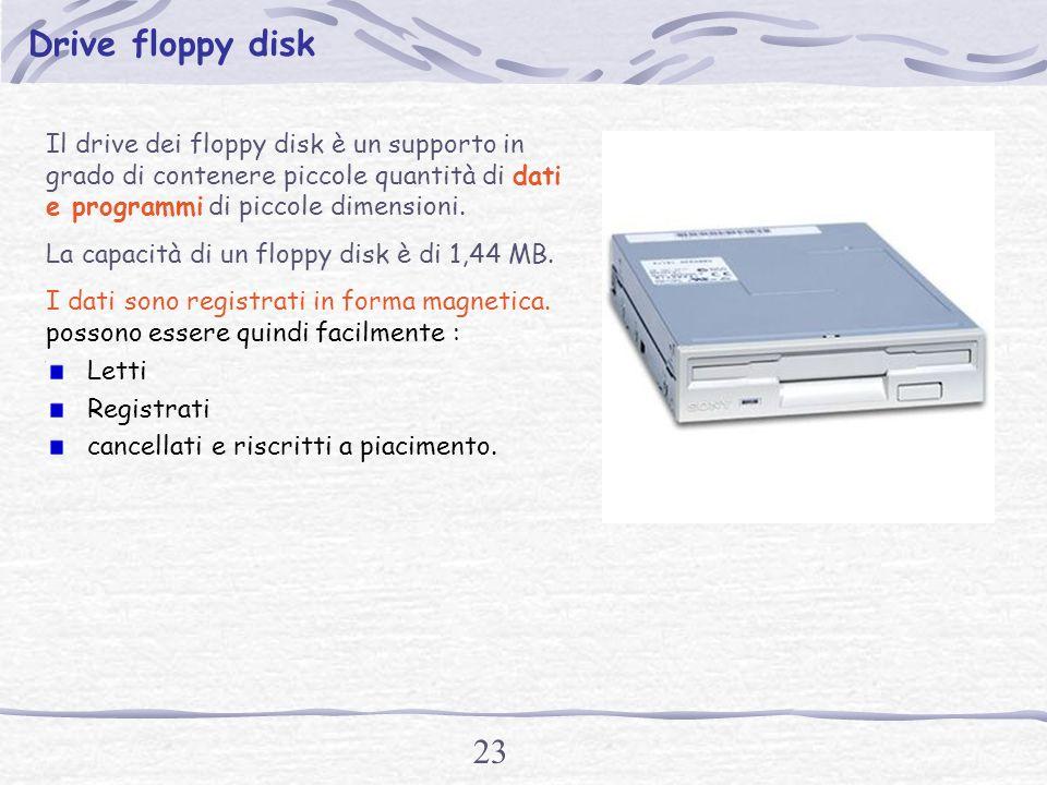 22 Hard disk Il disco rigido o hard disk è un enorme contenitore di dati e programmi.