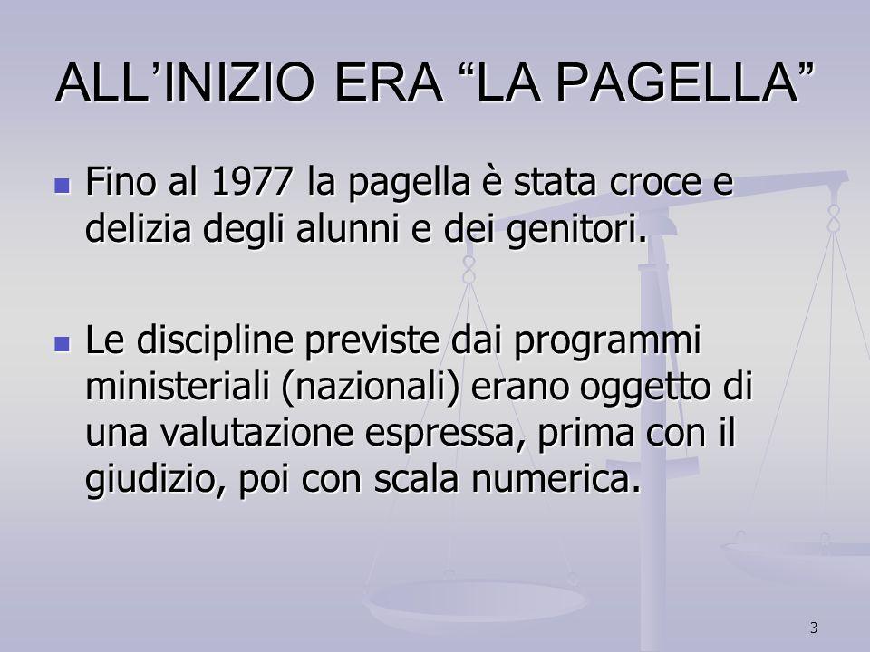 3 ALLINIZIO ERA LA PAGELLA Fino al 1977 la pagella è stata croce e delizia degli alunni e dei genitori. Fino al 1977 la pagella è stata croce e delizi