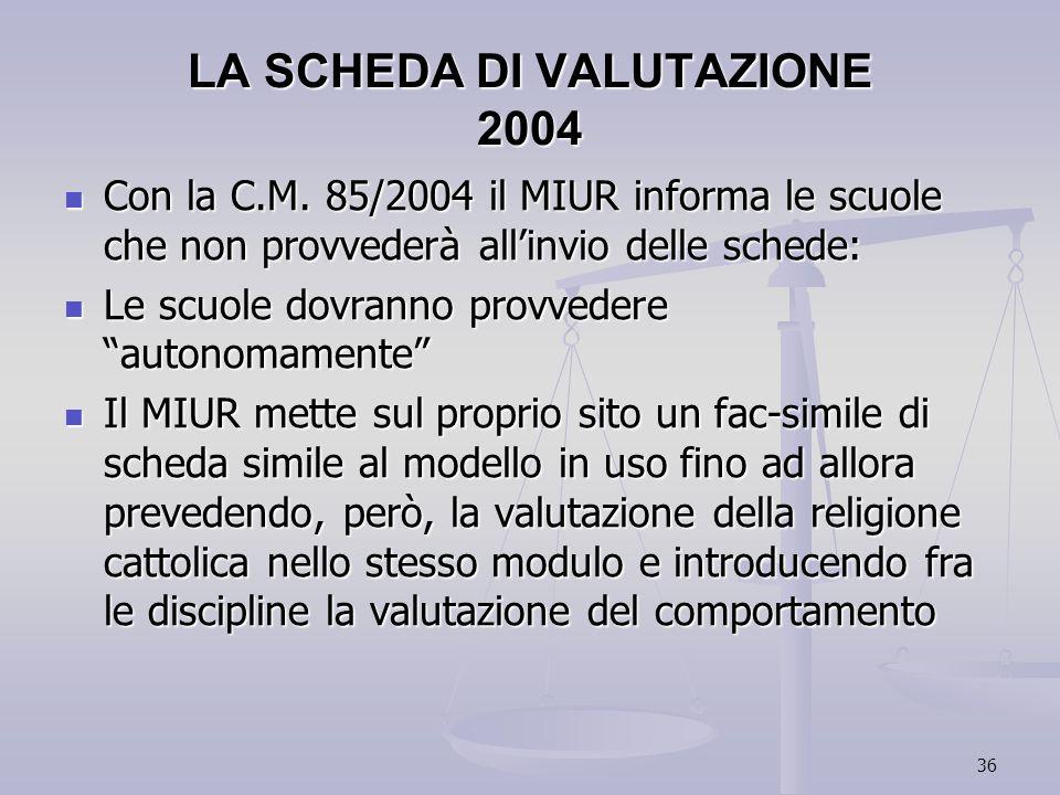 36 LA SCHEDA DI VALUTAZIONE 2004 Con la C.M. 85/2004 il MIUR informa le scuole che non provvederà allinvio delle schede: Con la C.M. 85/2004 il MIUR i