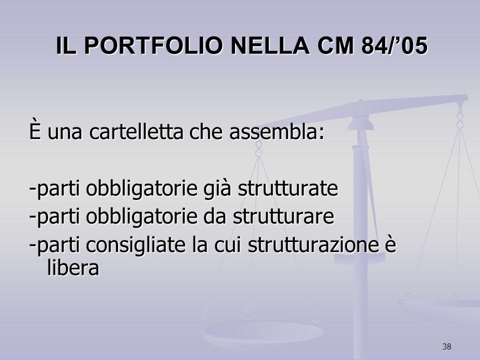 38 IL PORTFOLIO NELLA CM 84/05 È una cartelletta che assembla: -parti obbligatorie già strutturate -parti obbligatorie da strutturare -parti consiglia