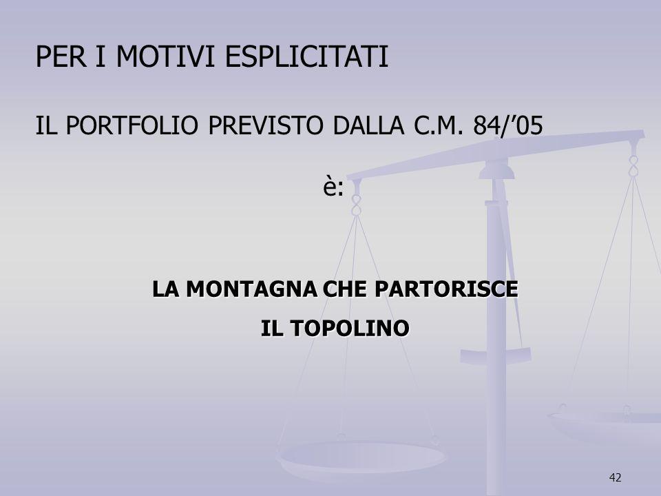 42 PER I MOTIVI ESPLICITATI IL PORTFOLIO PREVISTO DALLA C.M. 84/05 è: LA MONTAGNA CHE PARTORISCE IL TOPOLINO