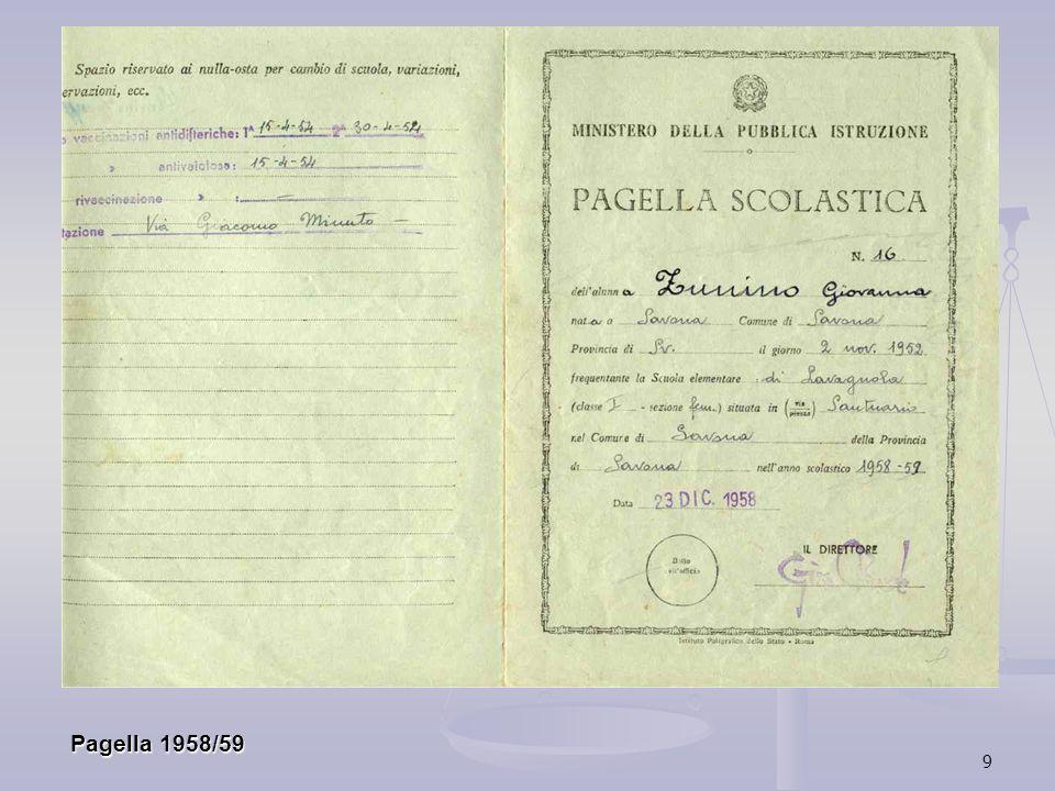 9 Pagella 1958/59 Pagella 1958/59