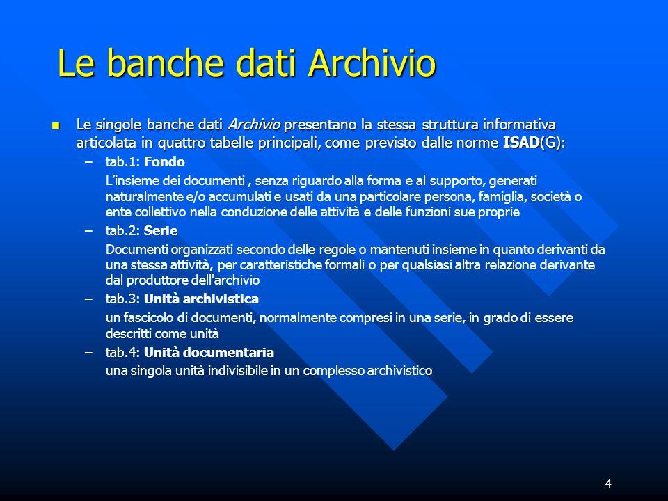 4 Le banche dati Archivio Le singole banche dati Archivio presentano la stessa struttura informativa articolata in quattro tabelle principali, come pr
