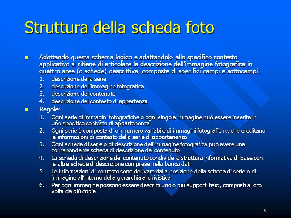 9 Struttura della scheda foto Adottando questa schema logico e adattandolo allo specifico contesto applicativo si ritiene di articolare la descrizione