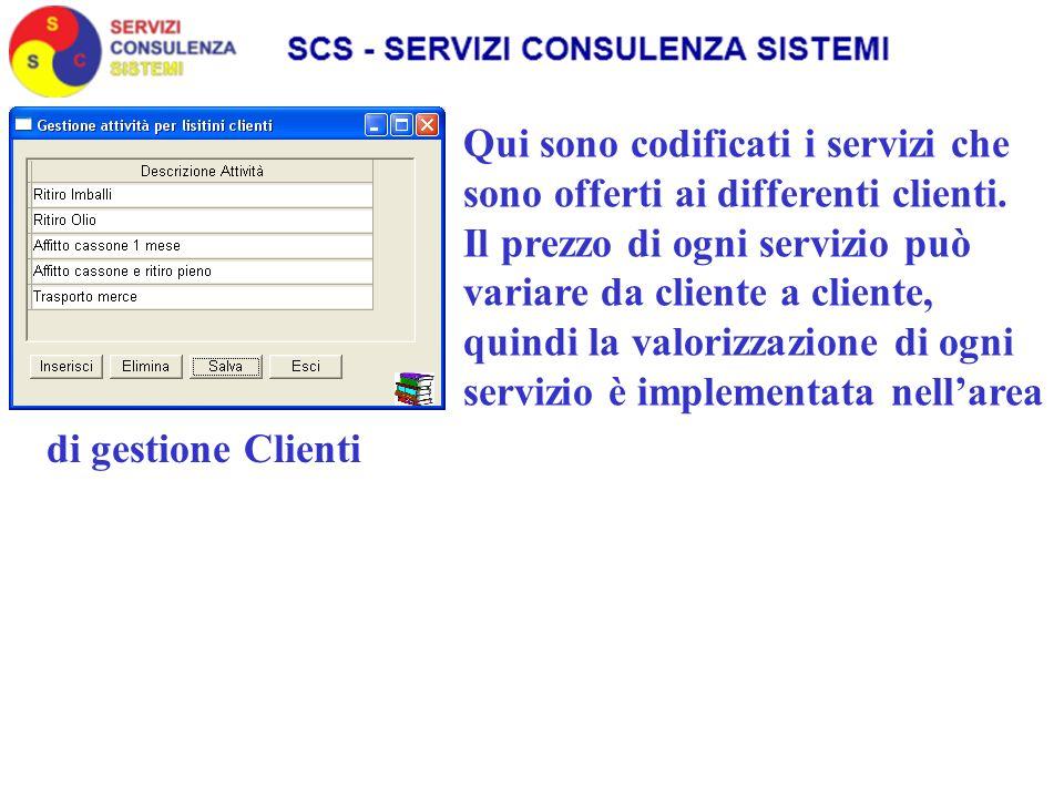 Qui sono codificati i servizi che sono offerti ai differenti clienti.