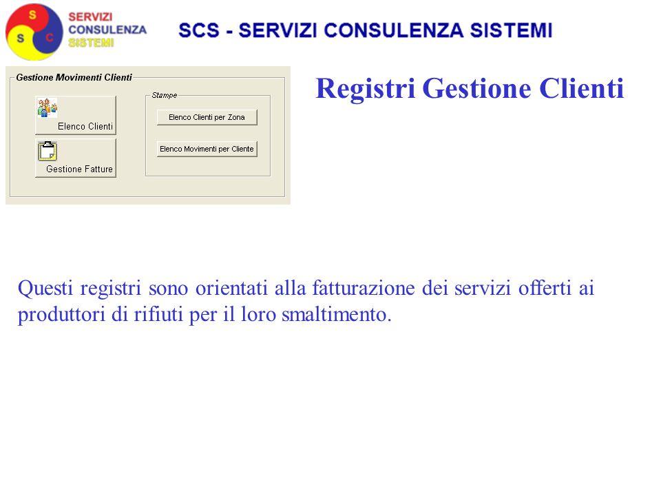 Registri Gestione Clienti Questi registri sono orientati alla fatturazione dei servizi offerti ai produttori di rifiuti per il loro smaltimento.