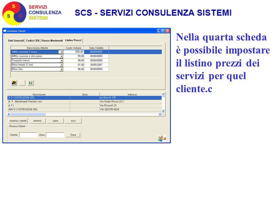 Nella quarta scheda è possibile impostare il listino prezzi dei servizi per quel cliente.c