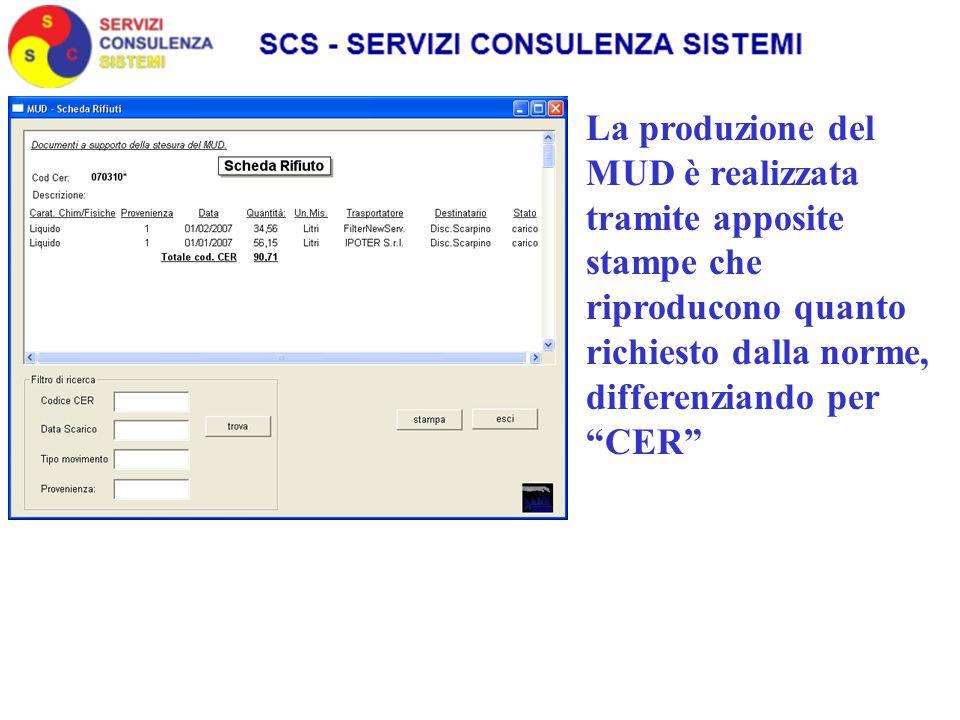 La produzione del MUD è realizzata tramite apposite stampe che riproducono quanto richiesto dalla norme, differenziando per CER
