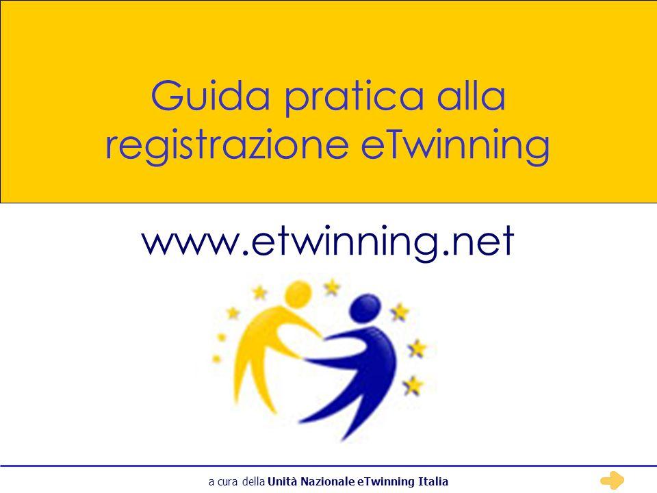 a cura della Unità Nazionale eTwinning Italia eTwinning - Registrazione 1 Collegatevi alla home page del portale: www.etwinning.net 2 Cliccate sul pulsante Clicca qui per registrarti… Registrandovi sul portale eTwinning, rendete visibile la vostra proposta di progetto ad altri insegnanti ed educatori di tutta Europa.