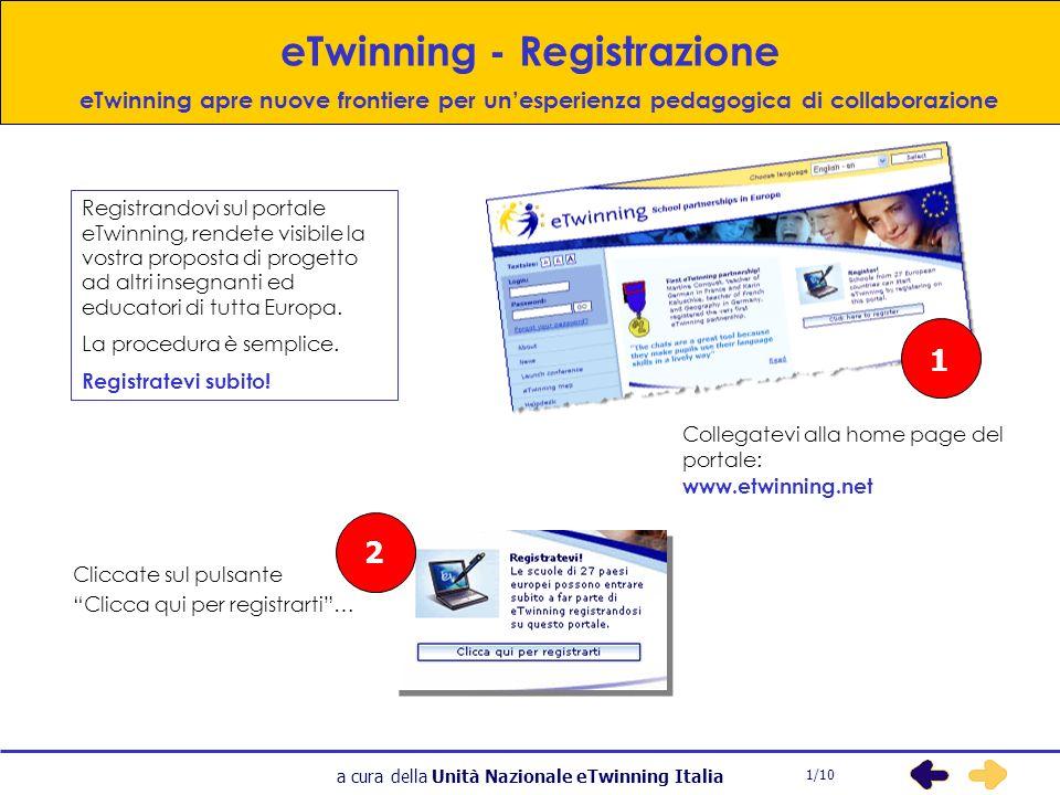 a cura della Unità Nazionale eTwinning Italia 3 eTwinning – (registrazione) Piccoli passi che portano lontano.