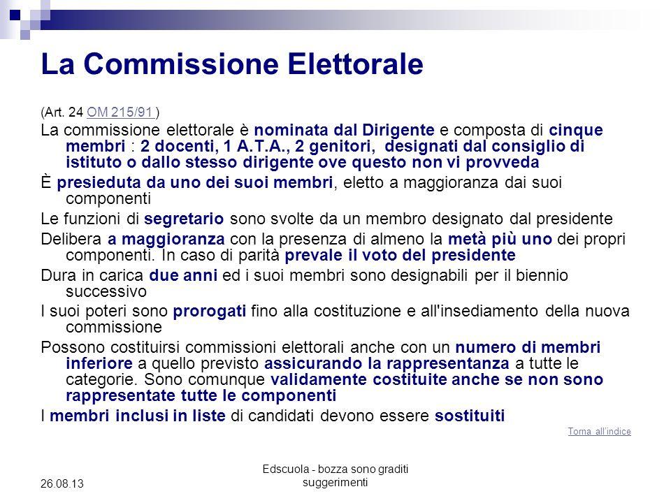 Edscuola - bozza sono graditi suggerimenti 26.08.13 La Commissione Elettorale (Art. 24 OM 215/91 )OM 215/91 La commissione elettorale è nominata dal D