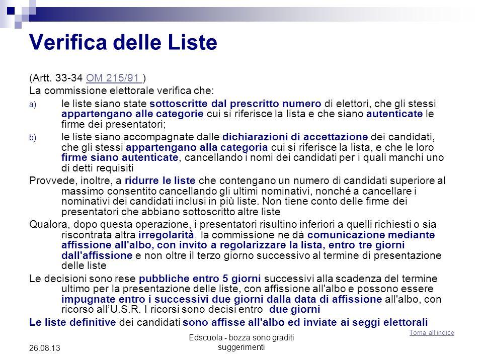 Edscuola - bozza sono graditi suggerimenti 26.08.13 Verifica delle Liste (Artt. 33-34 OM 215/91 )OM 215/91 La commissione elettorale verifica che: a)
