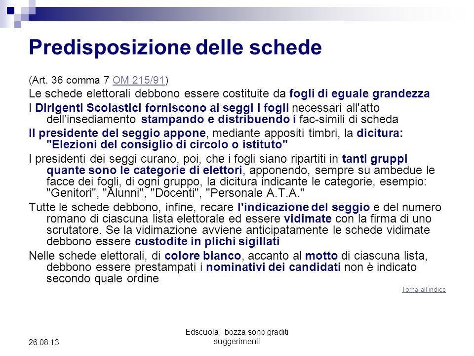 Edscuola - bozza sono graditi suggerimenti 26.08.13 Predisposizione delle schede (Art. 36 comma 7 OM 215/91)OM 215/91 Le schede elettorali debbono ess