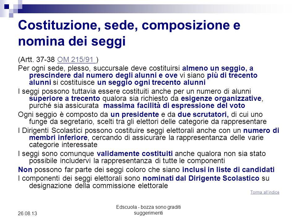Edscuola - bozza sono graditi suggerimenti 26.08.13 Costituzione, sede, composizione e nomina dei seggi (Artt. 37-38 OM 215/91 )OM 215/91 Per ogni sed