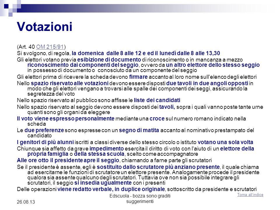 Edscuola - bozza sono graditi suggerimenti 26.08.13 Votazioni (Art.