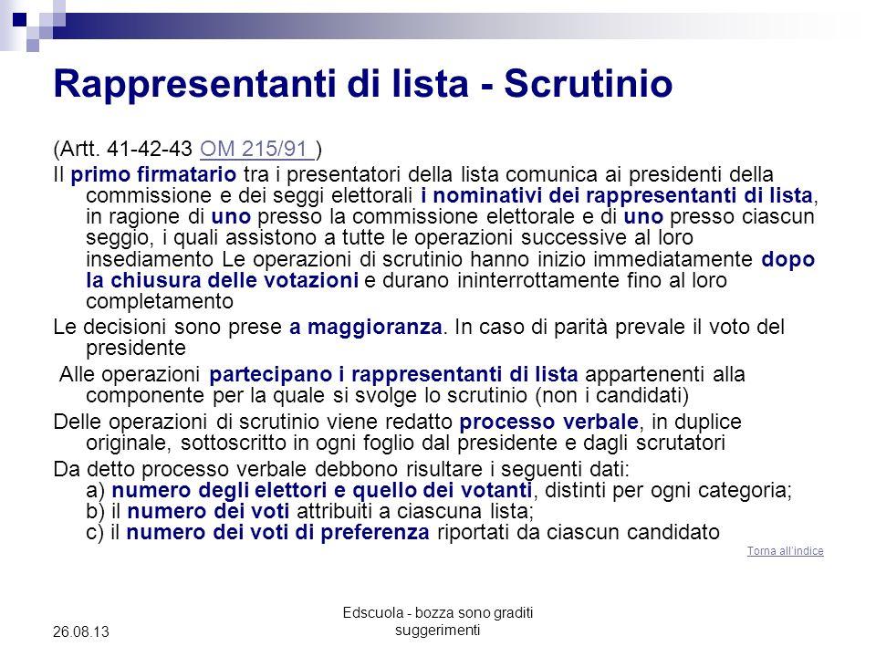 Edscuola - bozza sono graditi suggerimenti 26.08.13 Rappresentanti di lista - Scrutinio (Artt. 41-42-43 OM 215/91 )OM 215/91 Il primo firmatario tra i