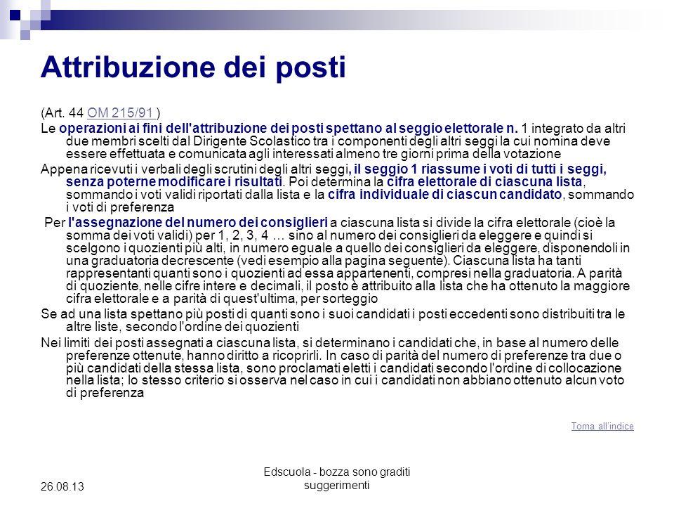 Edscuola - bozza sono graditi suggerimenti 26.08.13 Attribuzione dei posti (Art. 44 OM 215/91 )OM 215/91 Le operazioni ai fini dell'attribuzione dei p