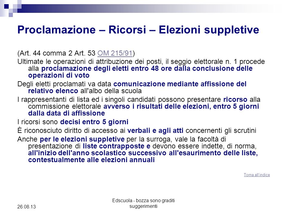 Edscuola - bozza sono graditi suggerimenti 26.08.13 Proclamazione – Ricorsi – Elezioni suppletive (Art. 44 comma 2 Art. 53 OM 215/91)OM 215/91 Ultimat
