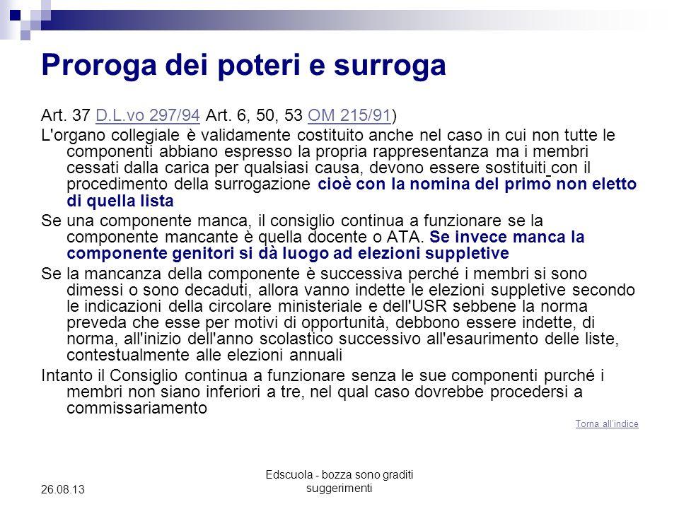 Edscuola - bozza sono graditi suggerimenti 26.08.13 Proroga dei poteri e surroga Art.