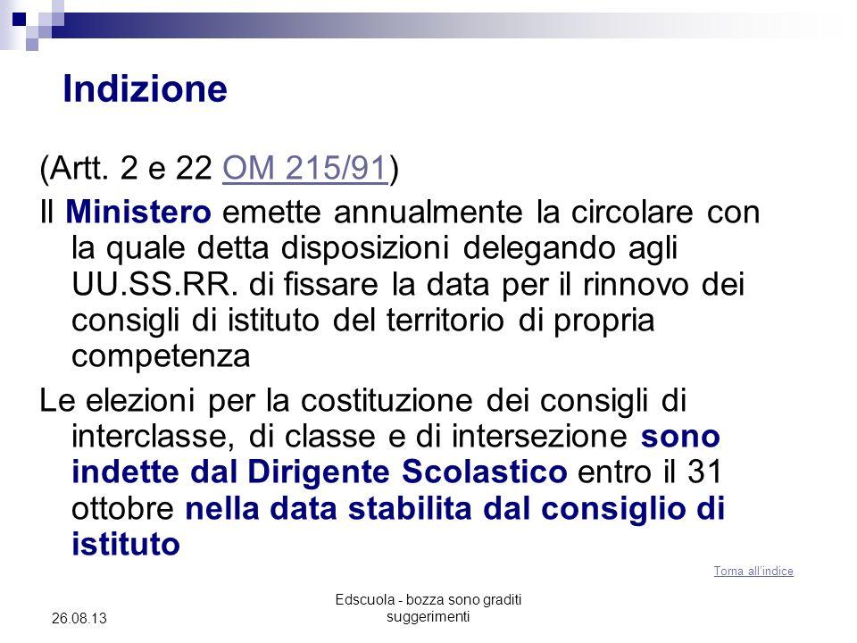Edscuola - bozza sono graditi suggerimenti 26.08.13 Indizione (Artt. 2 e 22 OM 215/91)OM 215/91 Il Ministero emette annualmente la circolare con la qu