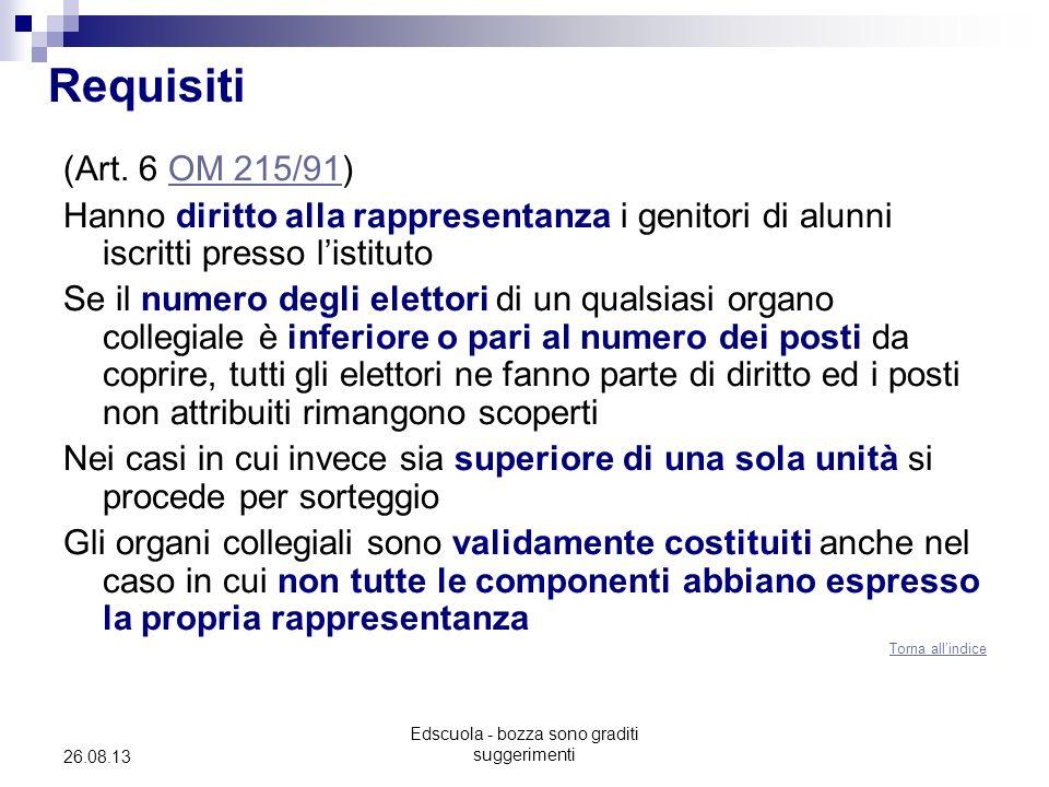 Edscuola - bozza sono graditi suggerimenti 26.08.13 Requisiti (Art. 6 OM 215/91)OM 215/91 Hanno diritto alla rappresentanza i genitori di alunni iscri