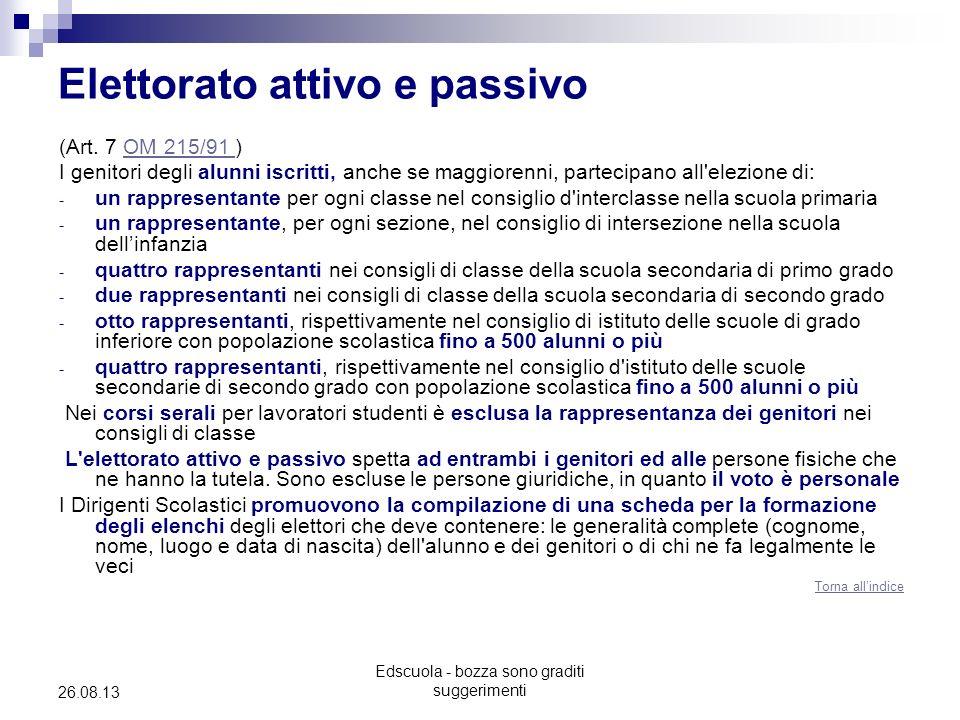 Edscuola - bozza sono graditi suggerimenti 26.08.13 Elettorato attivo e passivo (Art. 7 OM 215/91 )OM 215/91 I genitori degli alunni iscritti, anche s