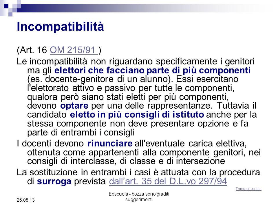 Edscuola - bozza sono graditi suggerimenti 26.08.13 Incompatibilità (Art. 16 OM 215/91 )OM 215/91 Le incompatibilità non riguardano specificamente i g