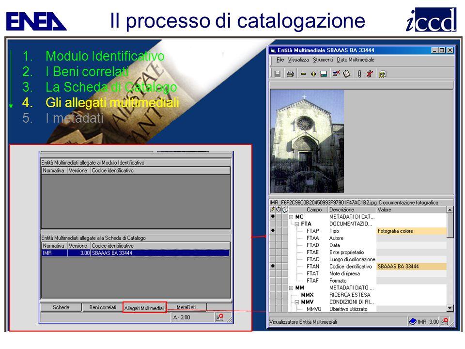 Il processo di catalogazione 1.Modulo Identificativo 2.I Beni correlati 3.La Scheda di Catalogo 4.Gli allegati multimediali 5.I metadati