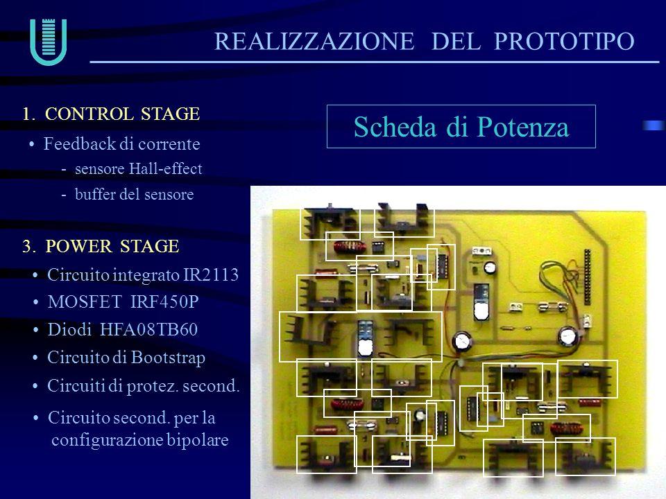 Scheda di Potenza REALIZZAZIONE DEL PROTOTIPO Circuito integrato IR2113 Circuito di Bootstrap Circuiti di protez. second. 1. CONTROL STAGE 3. POWER ST