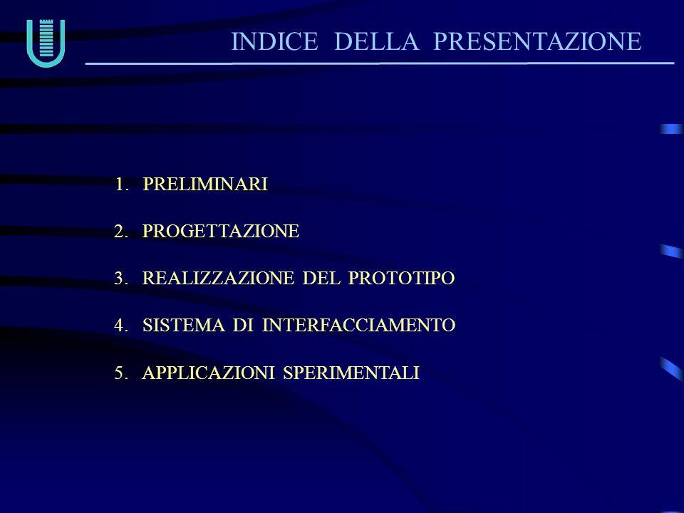 INDICE DELLA PRESENTAZIONE 1. PRELIMINARI 2. PROGETTAZIONE 3. REALIZZAZIONE DEL PROTOTIPO 4. SISTEMA DI INTERFACCIAMENTO 5. APPLICAZIONI SPERIMENTALI