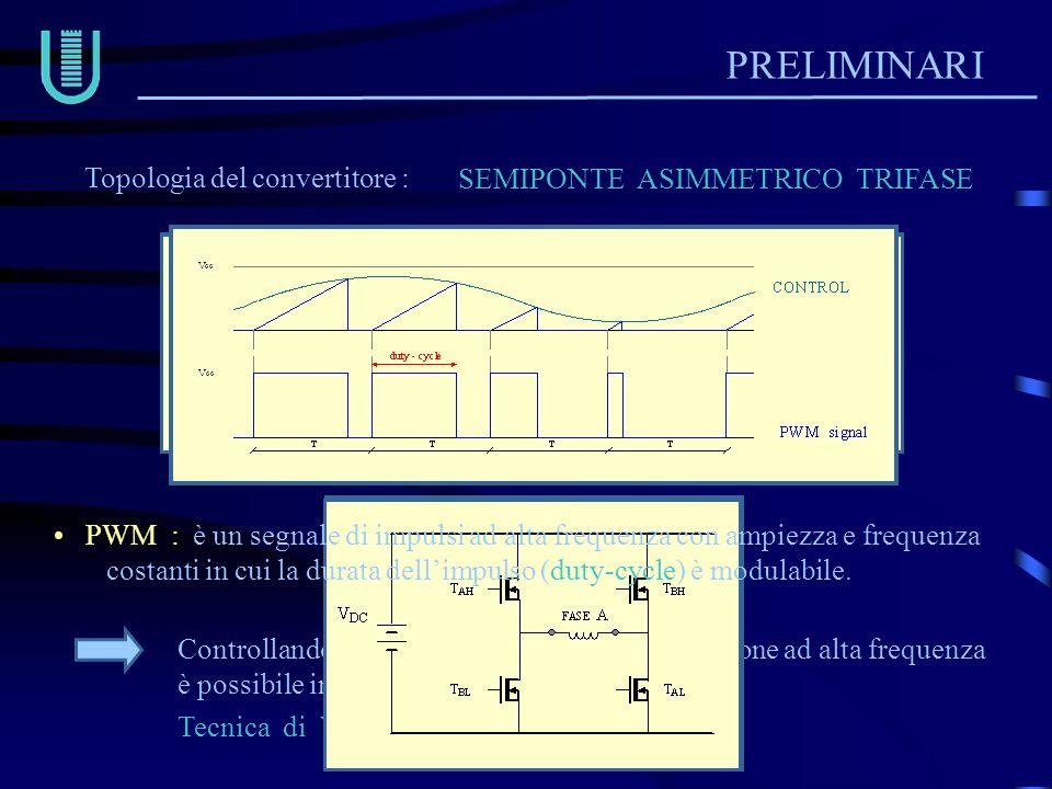 PRELIMINARI Topologia del convertitore : SEMIPONTE ASIMMETRICO TRIFASE Tecnica di VOLTAGE CHOPPING Controllando il duty-cycle di questa commutazione a