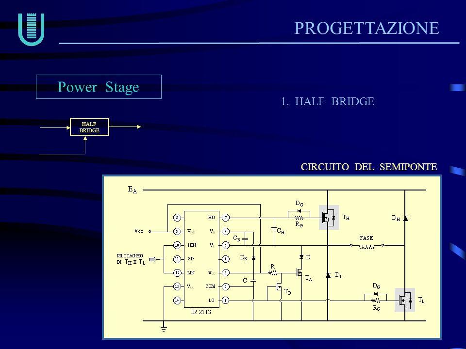 PROGETTAZIONE 1. HALF BRIDGE Power Stage HALFBRIDGE CIRCUITO DEL SEMIPONTE