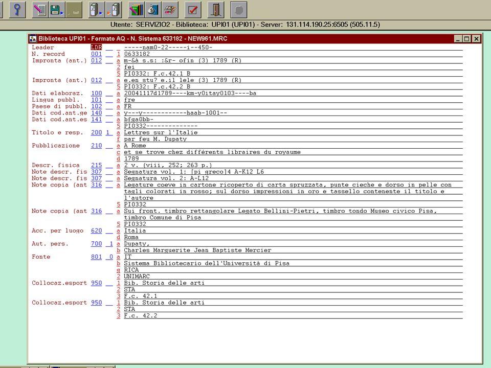 3.12.2004 UNIMARC per il libro antico4 Esempio di record bibliografico