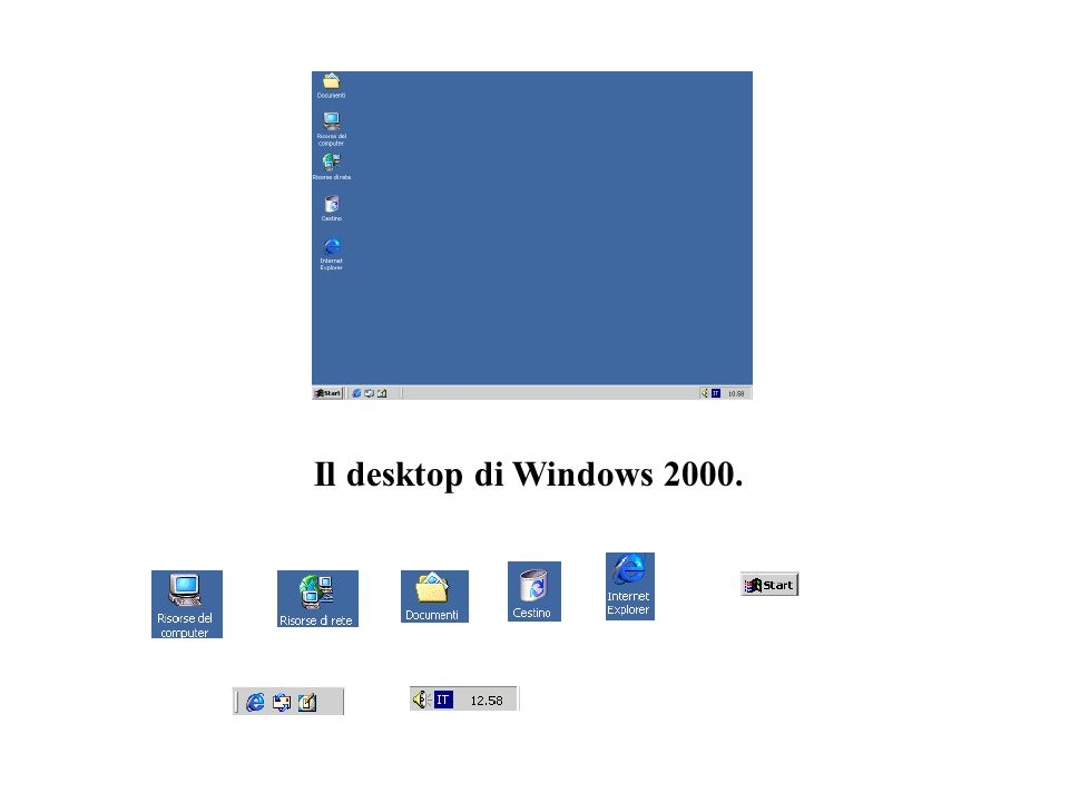 Il desktop di Windows 2000.