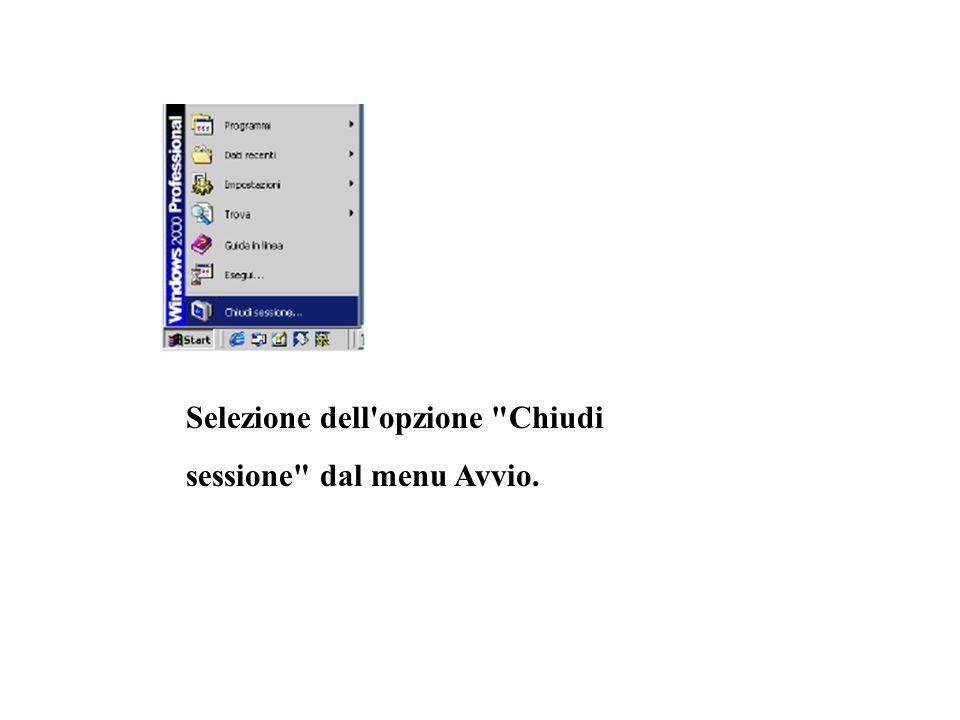Selezione dell opzione Chiudi sessione dal menu Avvio.