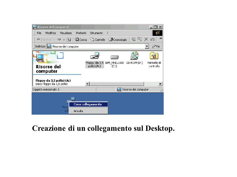 Creazione di un collegamento sul Desktop.