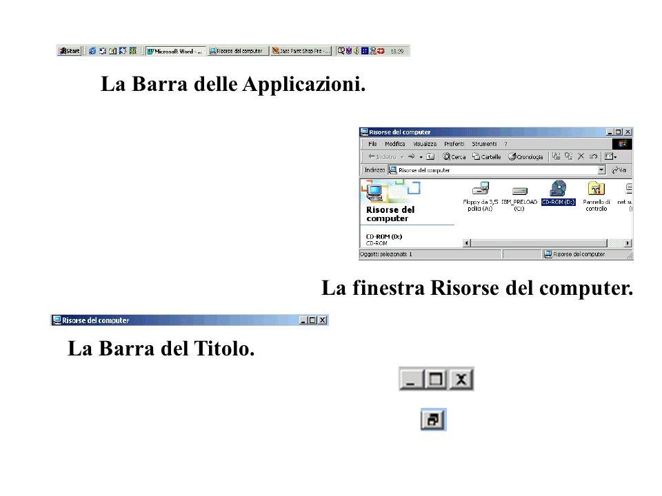 La Barra delle Applicazioni. La finestra Risorse del computer. La Barra del Titolo.