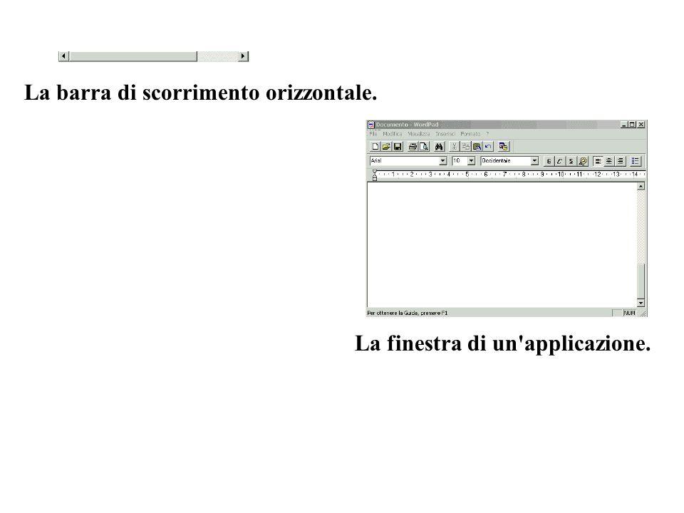 La barra di scorrimento orizzontale. La finestra di un'applicazione.