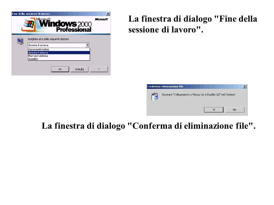 La finestra di dialogo Fine della sessione di lavoro .