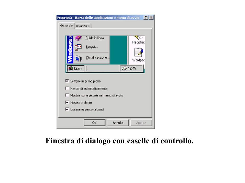 Finestra di dialogo con caselle di controllo.