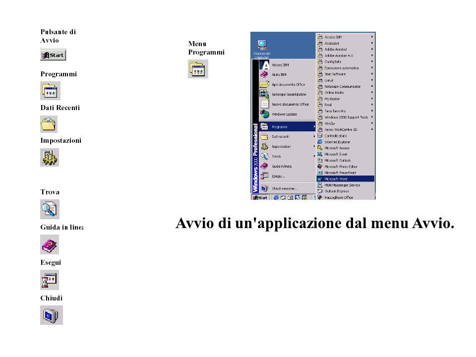 Avvio di un applicazione dal menu Avvio.
