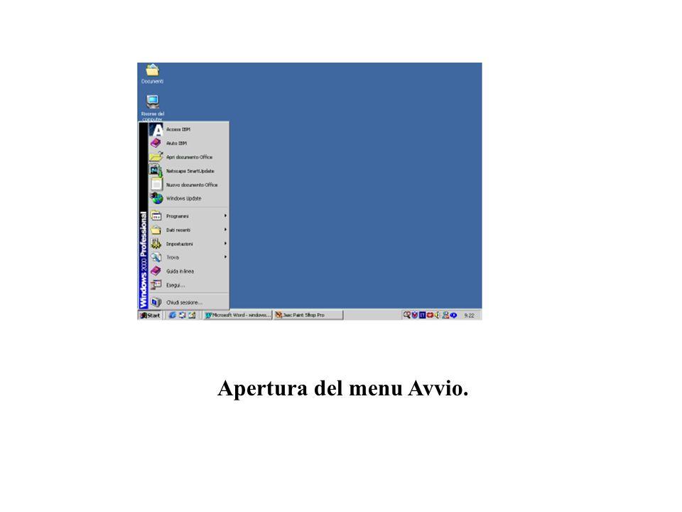 Apertura del menu Avvio.